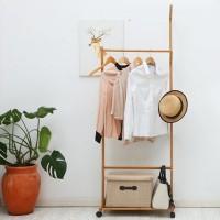 Garderobenständer Bambus Kleiderständer mit Schuhablage Rollen 176cm