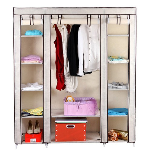 kleiderschrank g nstig stoff campingschrank 175cm beige. Black Bedroom Furniture Sets. Home Design Ideas