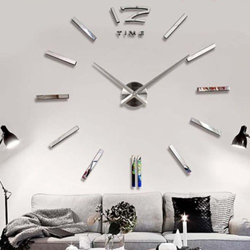 wanduhr wandtattoo stylische dekoration uhr f r zimmerdeko silber. Black Bedroom Furniture Sets. Home Design Ideas