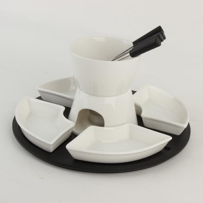 fondue set kaufen 6er set schokofondue weiss keramik. Black Bedroom Furniture Sets. Home Design Ideas