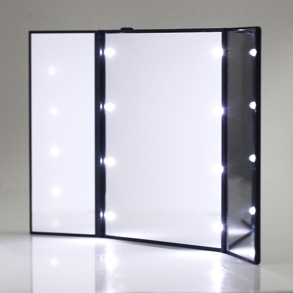 make up spiegel desktop faltbarer schminkspiegel 3 seite 8 leds. Black Bedroom Furniture Sets. Home Design Ideas